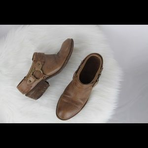 Frye Carson Leather Belted Harness Mule Booties